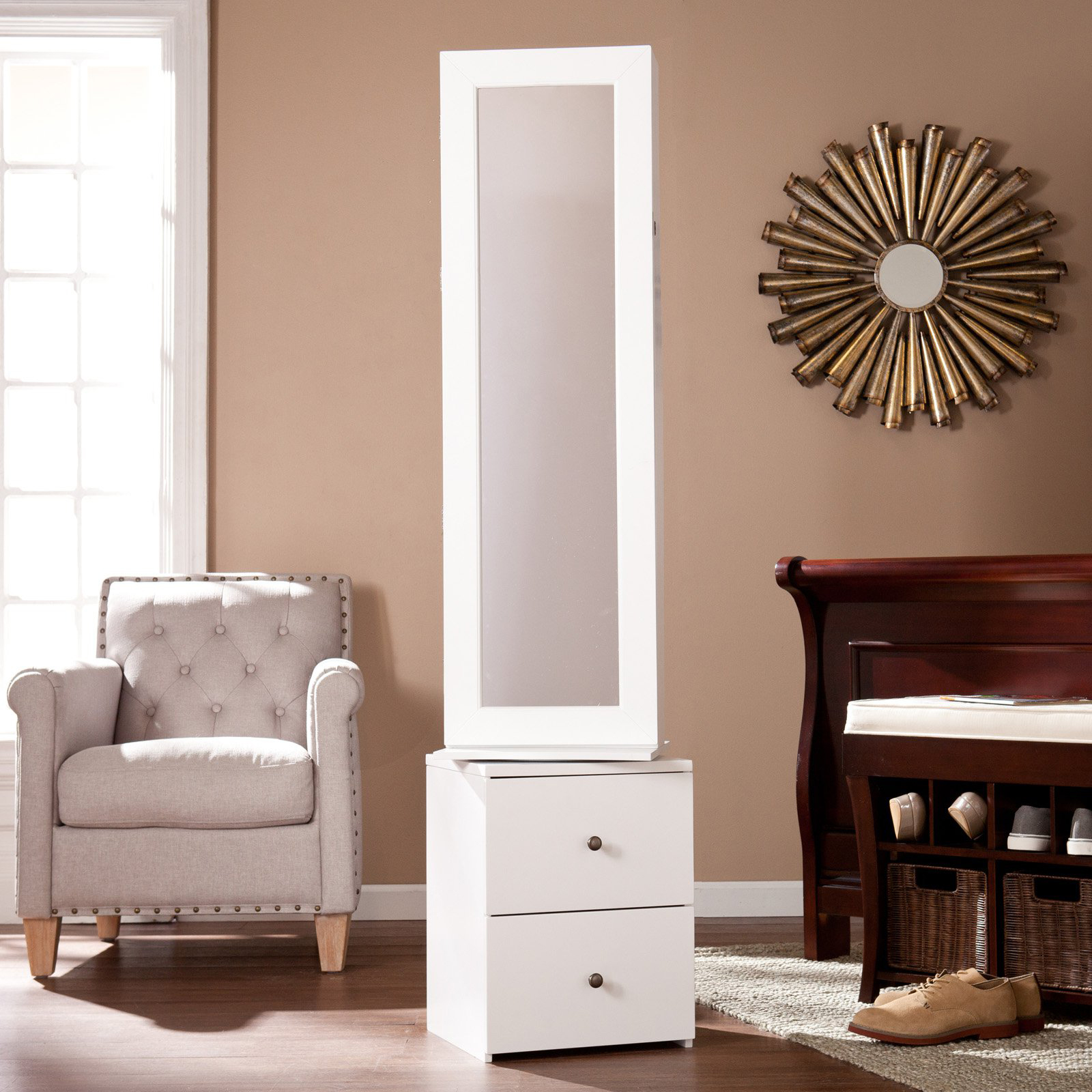 Tall Full Mirror Night Stand Shaped Jewelry Armoire