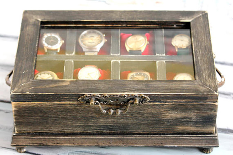Vintage Distressed Wood 8 Slot Watch Holder Case with Glass Top