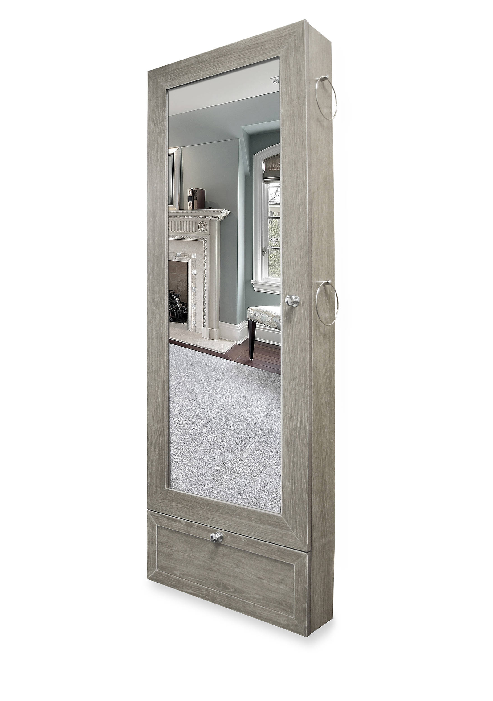 Gray Wooden Over The Door Mirrored Jewelry Armoire