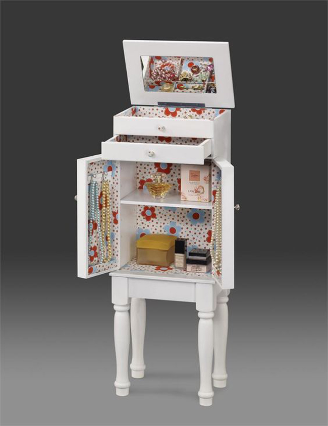 Cute Small Indie White Floor Standing Jewelry Armoire