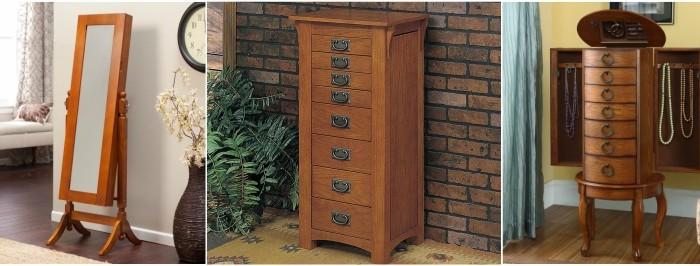 Beautiful Wooden Oak Jewelry Armoires