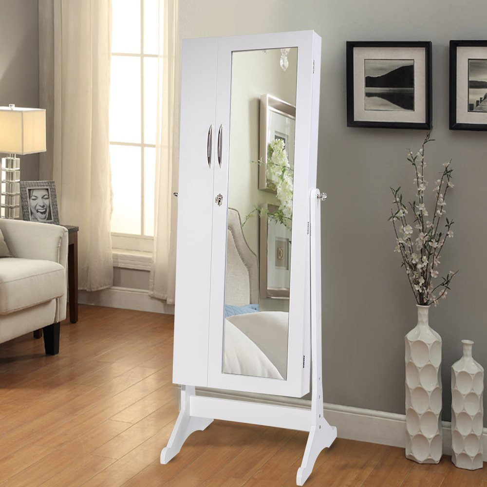 Minimalist White Silver Knobs Standing Mirror Jewelry Armoire