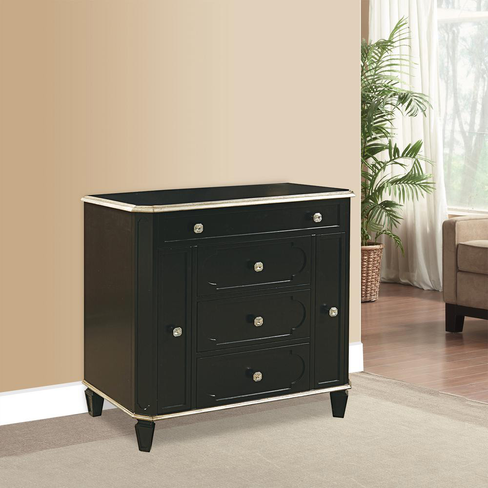 Short Cabinet Style Black Jewelry Armoire