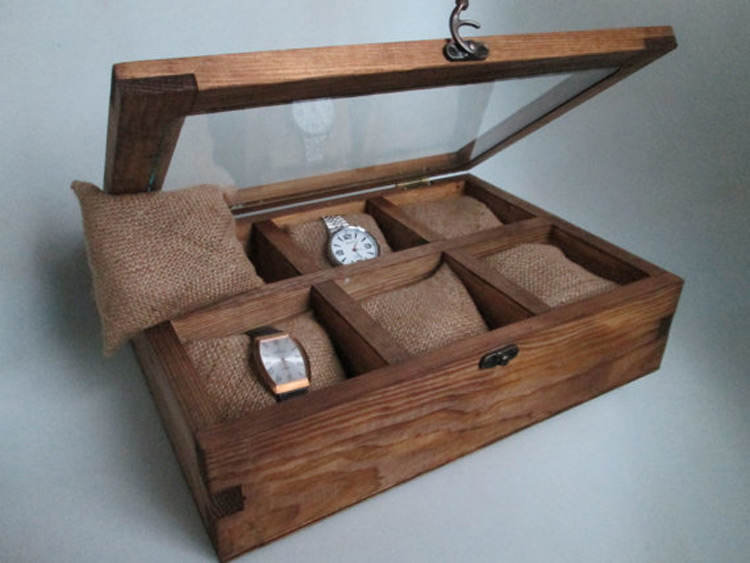 Wide Rustic 6 Slot Watch Holder Case with Glass Top