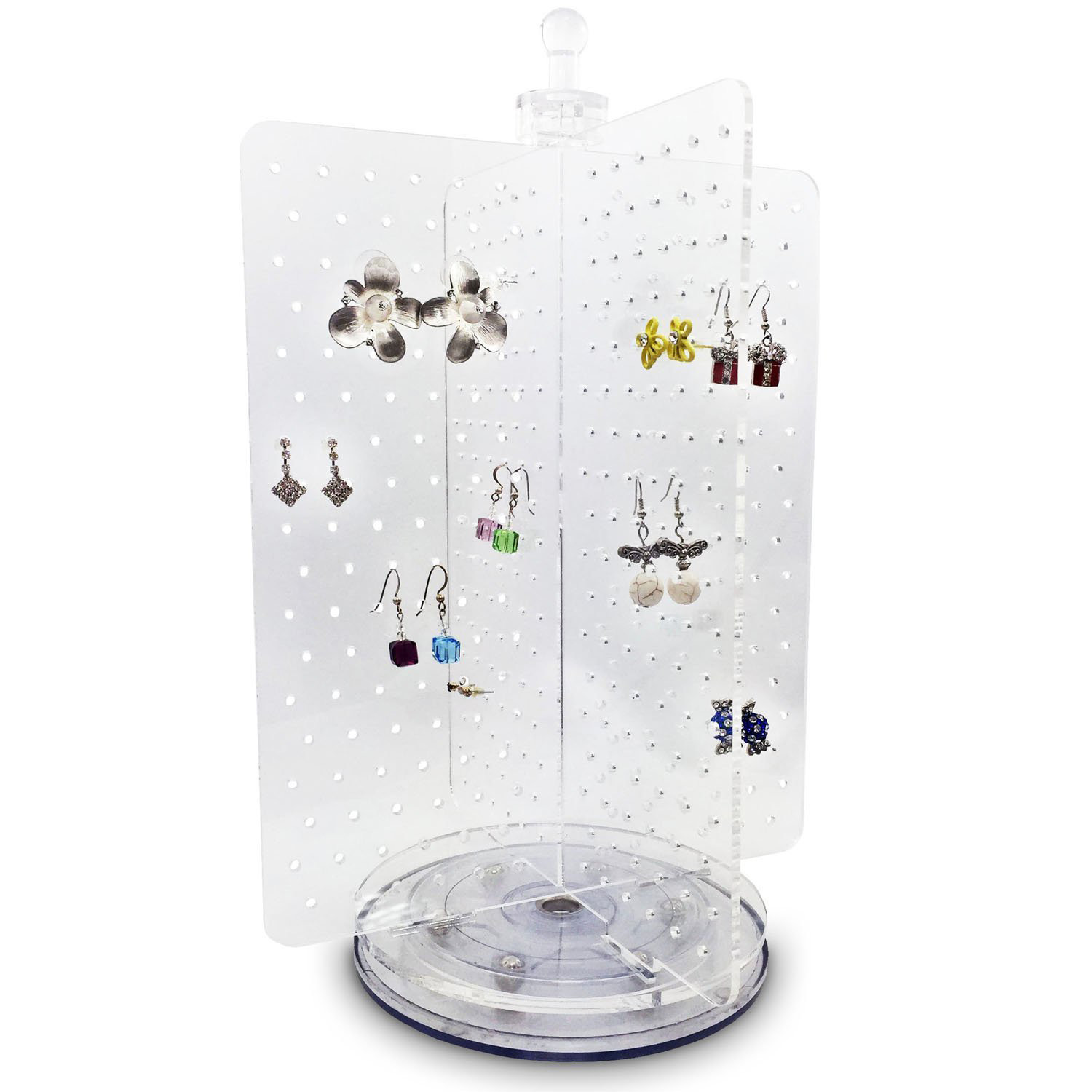 4 Sided Acrylic Rotating Jewelry Holder Stand
