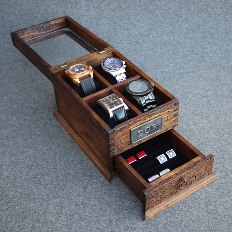 Beautiful Distressed Wood Watch Holder Box with Glass Top