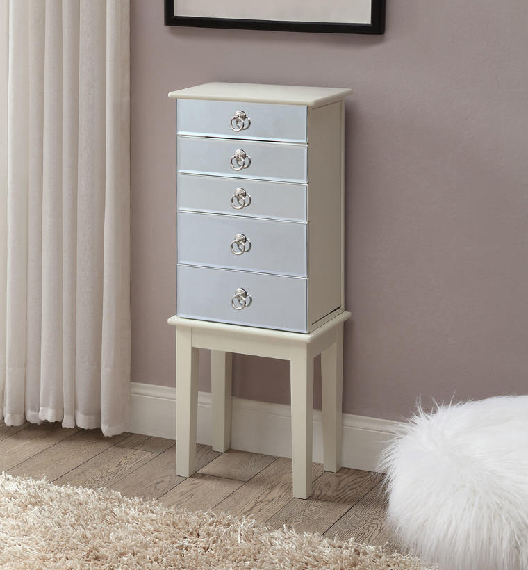 Cute Small Floor Standing Mirrored Jewelry Armoire Cabinet