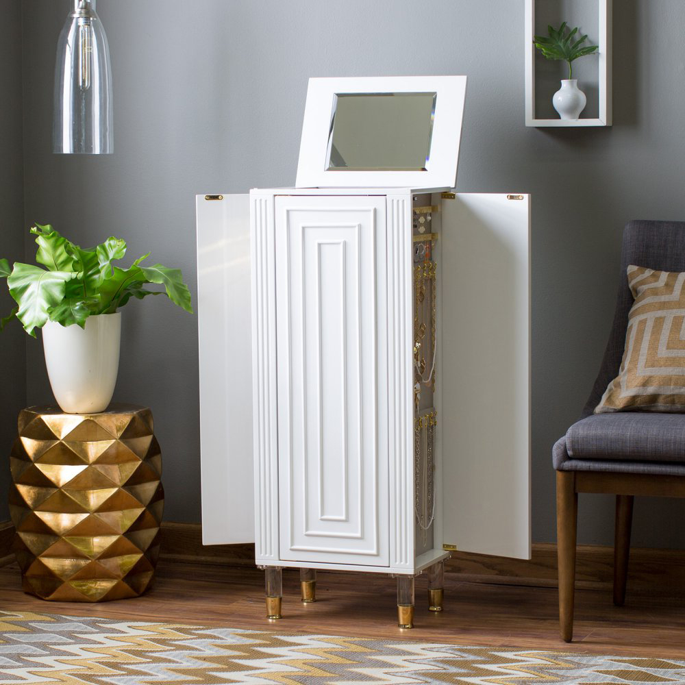 Greek Style White Jewelry Armoire