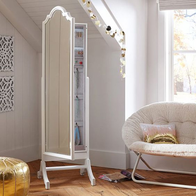 Minimalist White Full Length Cheval Mirror Jewelry Armoire