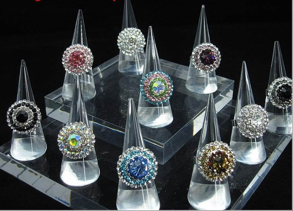 Beautiful Acrylic Jewelry Holder Cones with Platform