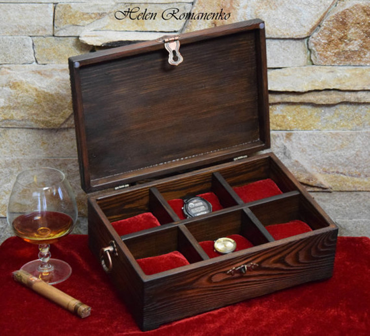 Beautiful Dark Wood 6 Slot Red Lining Watch Holder Box
