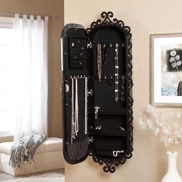 Beautiful Vintage Decorative Black Jewelry Armoire
