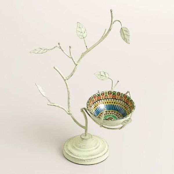 Light Green Simple Jewelry Tree Holder with Bird