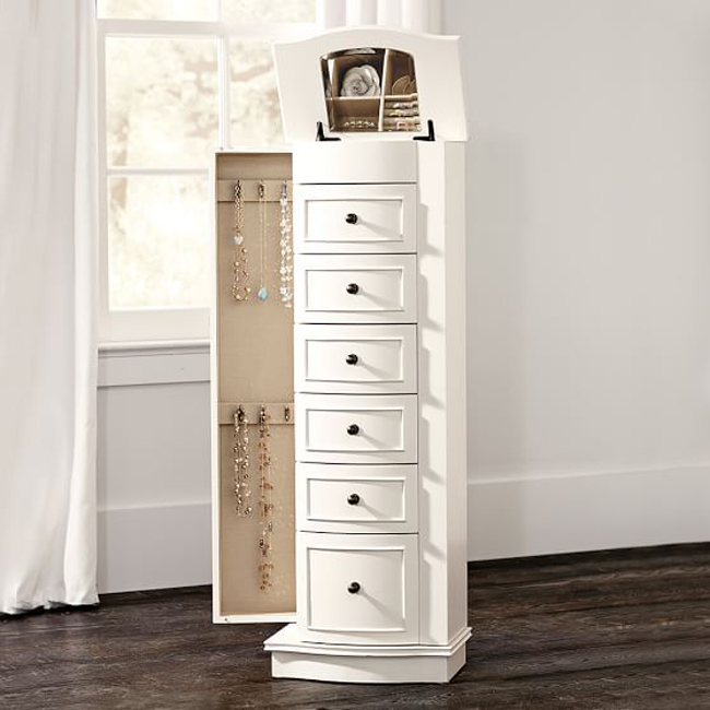 White Slim Tall Minimalist Cabinet Style Jewelry Armoire