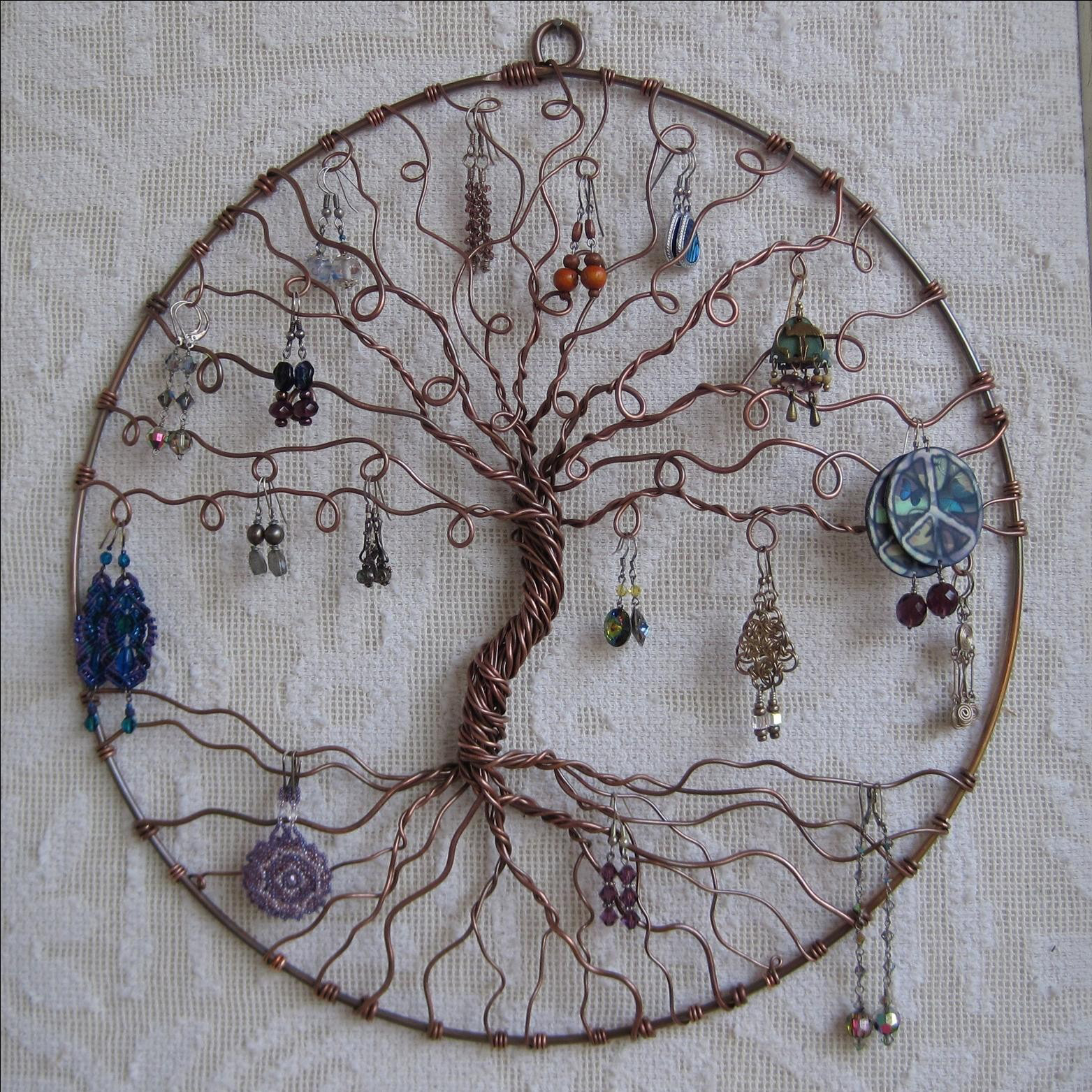 Creative Copper Wire Tree Shaped Round Wall Hanging Earring Holder