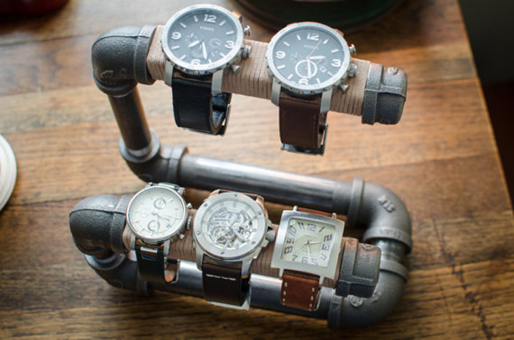 Creative Pipe Construction 5 Slot Watch Holder