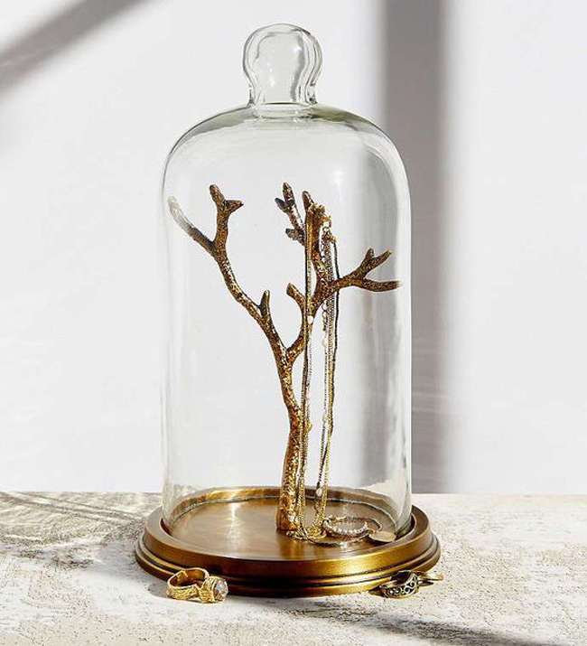Golden Jewelry Tree Holder in a Glass Dome
