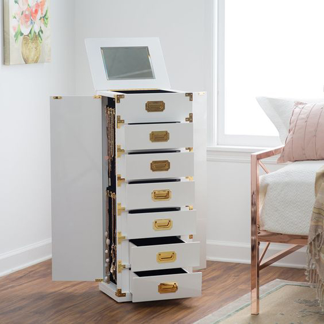 Tall White Floor Standing Cabinet Jewelry Armoire with Gold Knobs