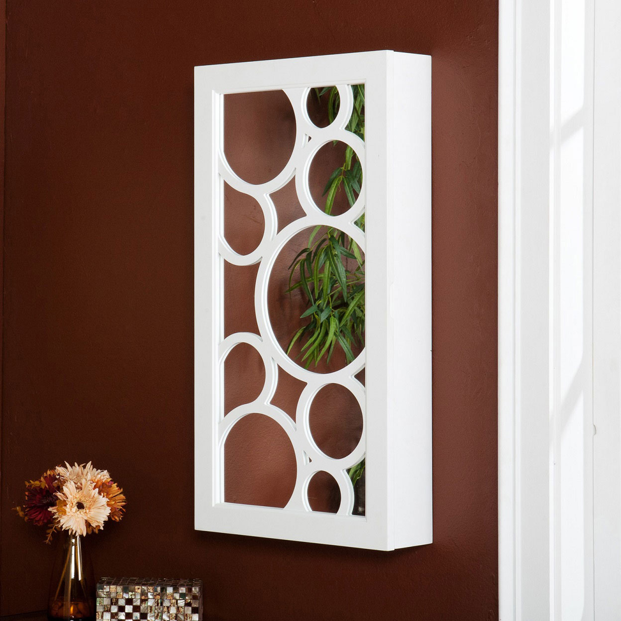 Beautiful Abstract White Wall Hanging White Mirrored Jewelry Armoire