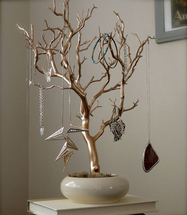 Beautiful Shiny Potted Jewelry Tree Holder