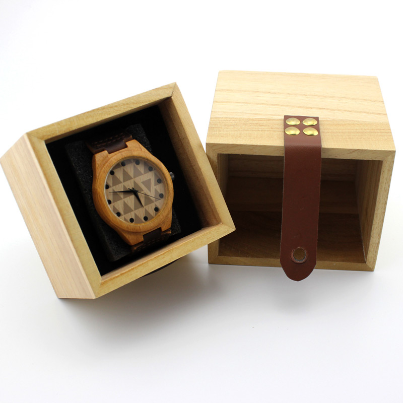 Creative Wooden Watch Holder Box with Strap