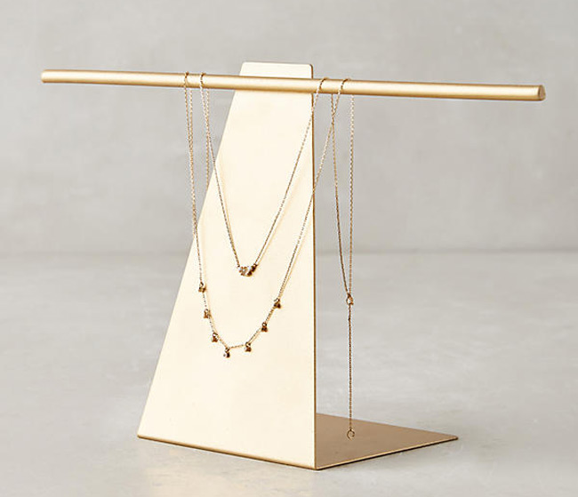 Elegant Golden Jewelry Holder Stand with T-Bar