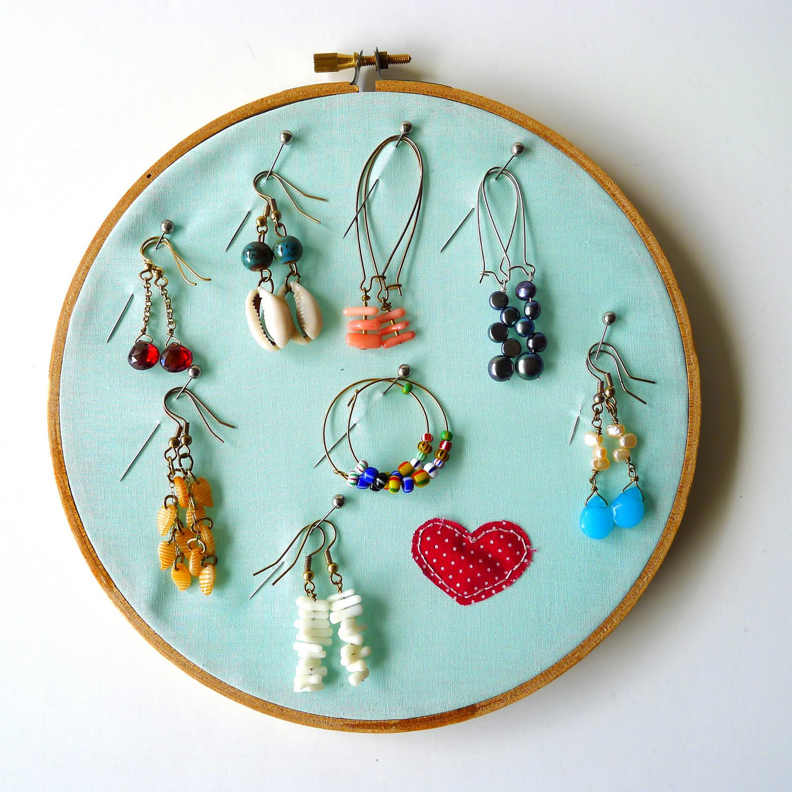 Minimalist Teal Pin Based Wall Hanging Earring Holder