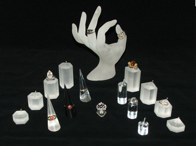 Translucent Acrylic Jewelry Hand Holder with Risers