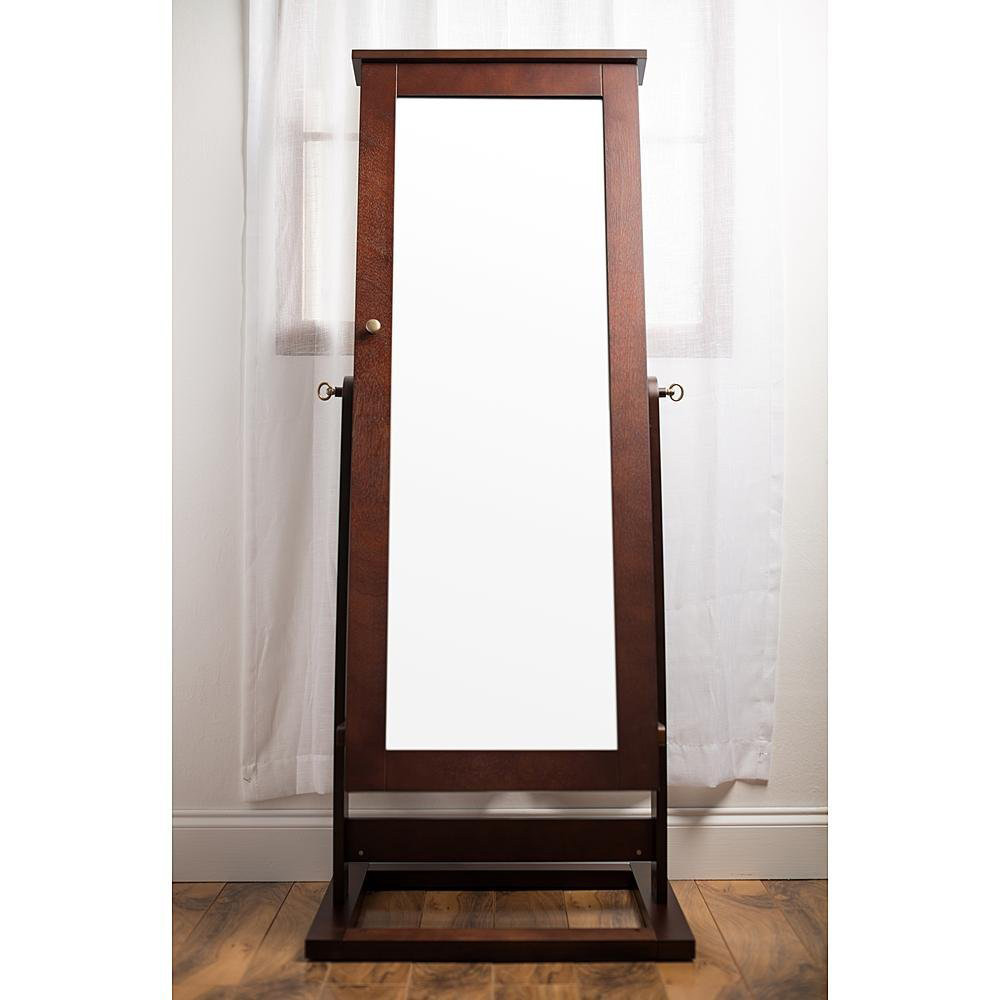 Simple Wooden Large Cheval Mirror Jewelry Armoire