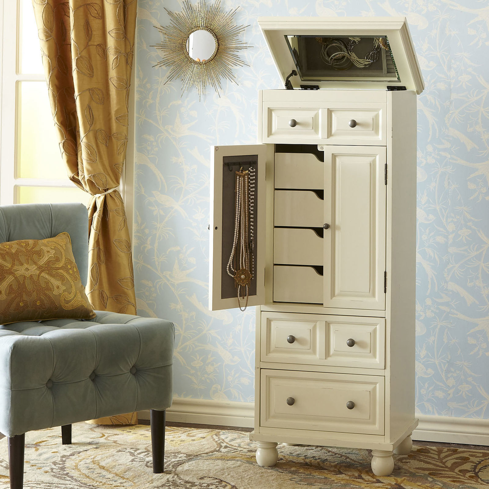 Tall Wide White Floor Standing Jewelry Armoire