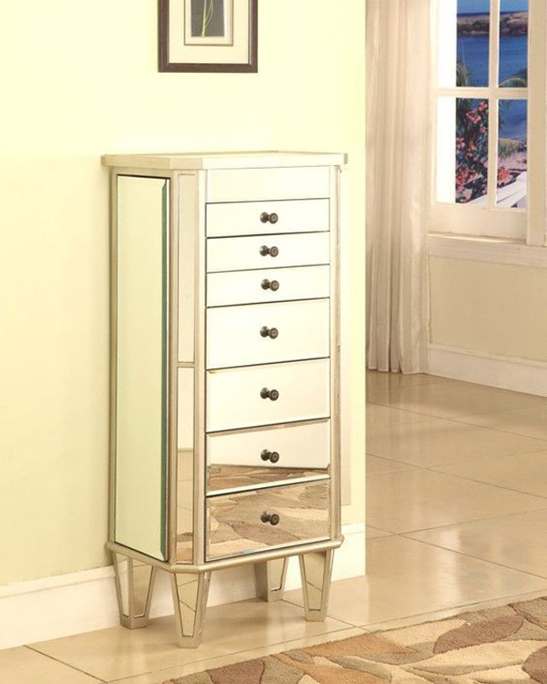 Beautiful Mirrored Surface Wall Standing Large Jewelry Cabinet Armoire