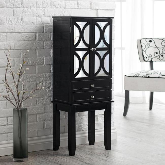 Beautiful Modern Freestanding Black Jewelry Armoire