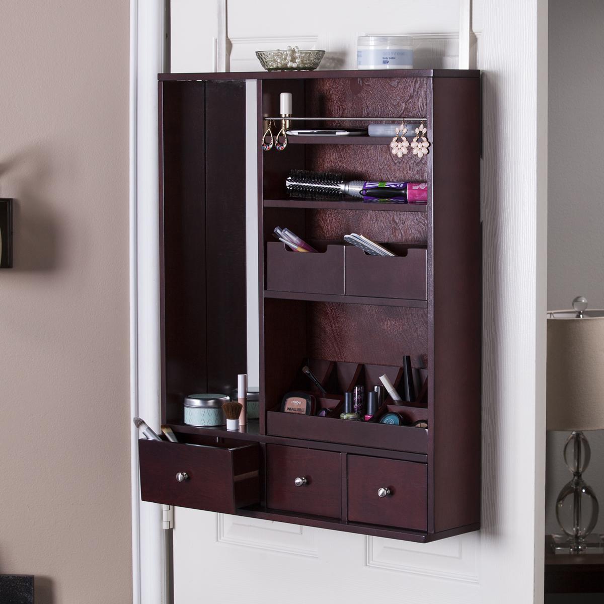Dark Brown Cabinet Style Over The Door Jewelry Armoire