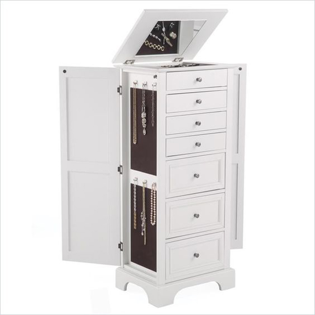 Minimalist White Floor Standing Cabinet Style Jewelry Armoire