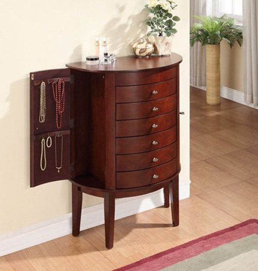 Small Wall Standing Curved Antique Style Wooden Jewelry Armoire