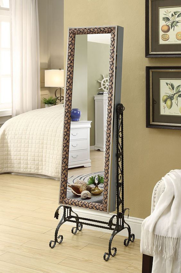 Beautiful Metal Support Standing Mirror Decorative Jewelry Armoire