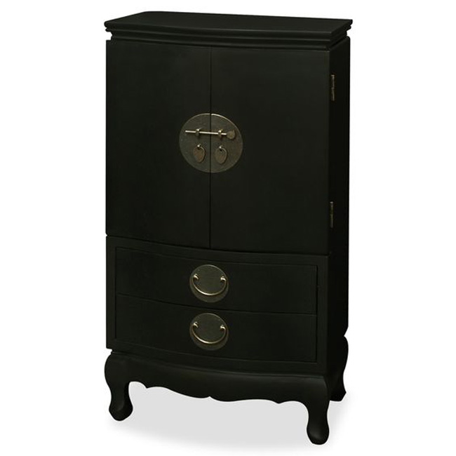 Beautiful Solid Black Cabinet Jewelry Armoire