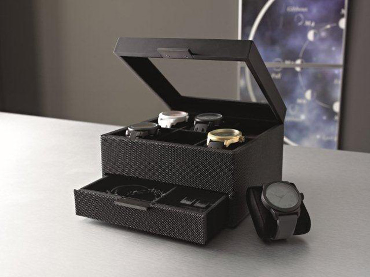 Black Textured Watch Holder Box with Drawer & Glass Top