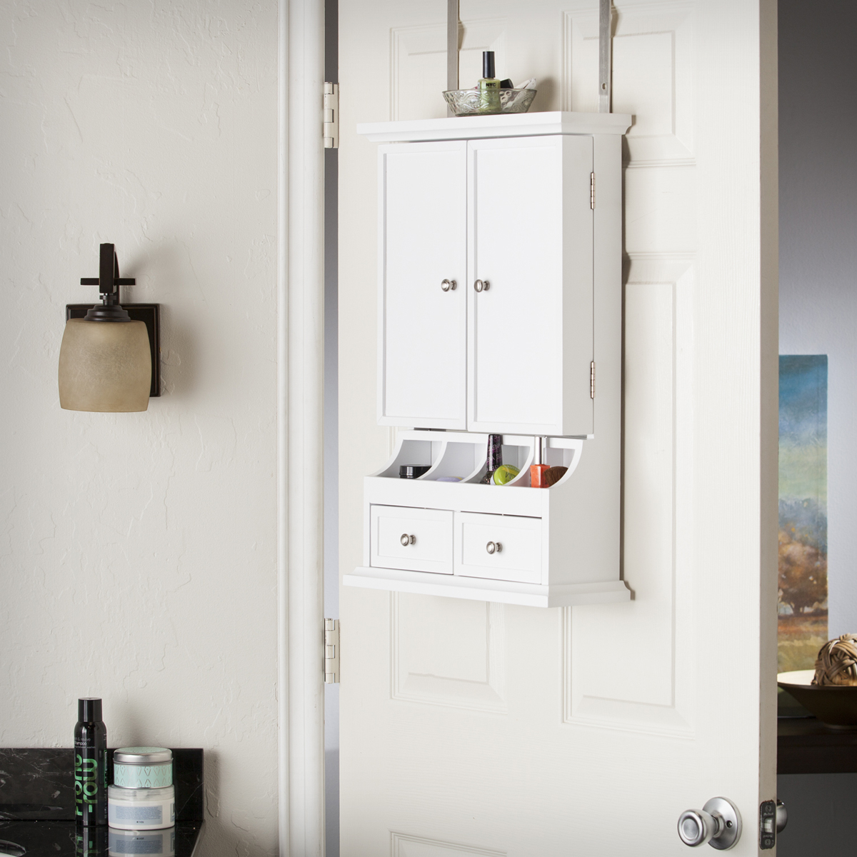 Cute Minimalist White Cabinet Style Over The Door Jewelry Armoire