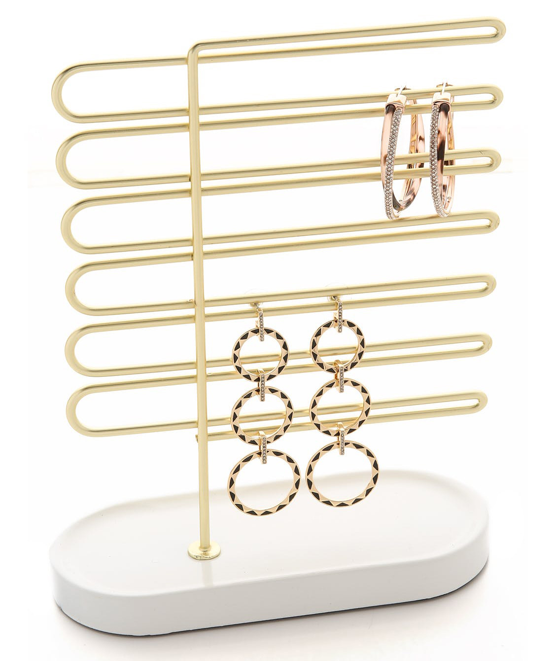 Elegant Gold White Jewelry Holder Stand