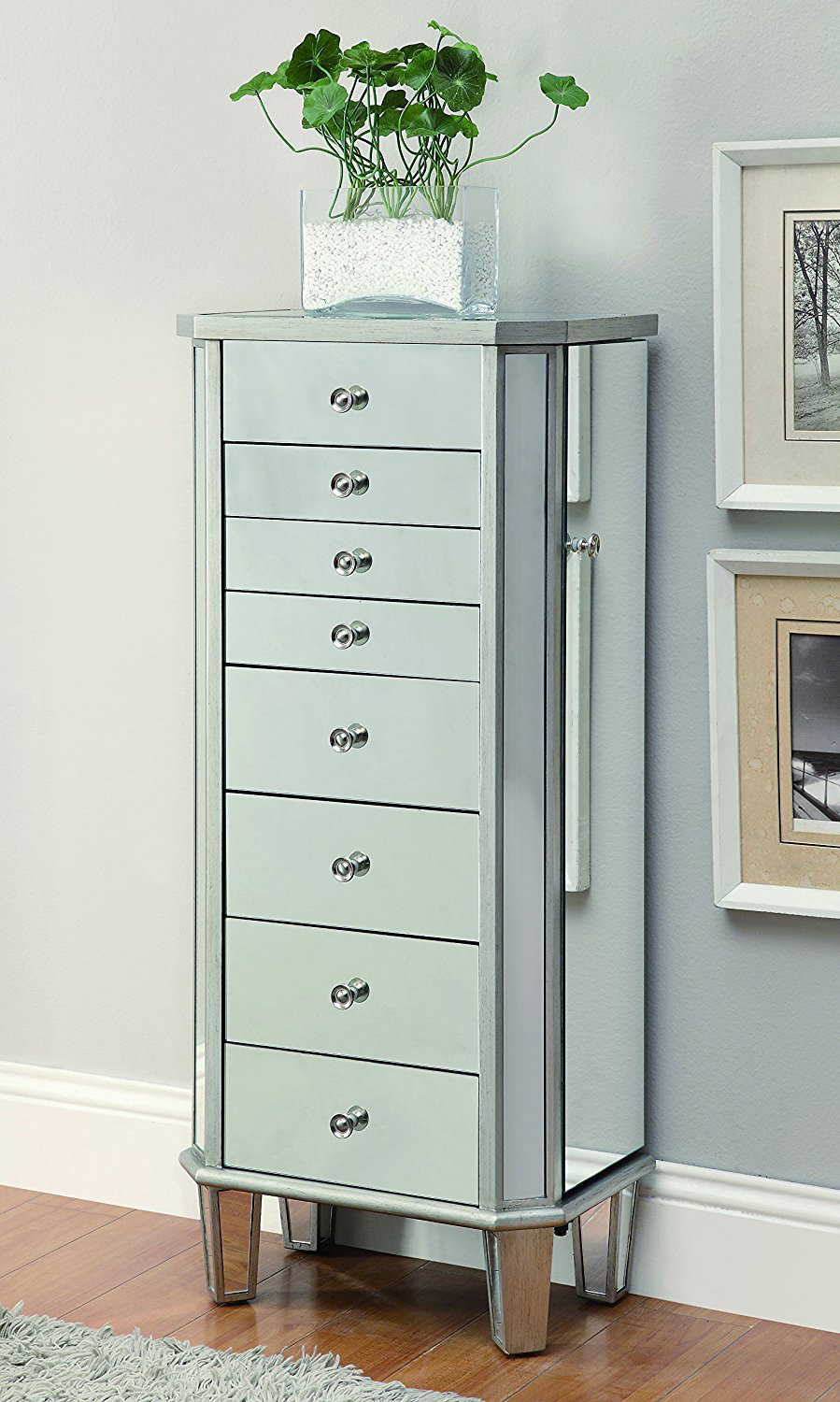 Elegant Wall Standing Mirrored Cabinet Style Jewelry Armoire