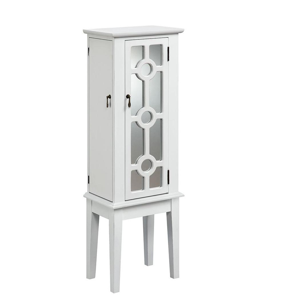 Minimalist White Freestanding Jewelry Armoire