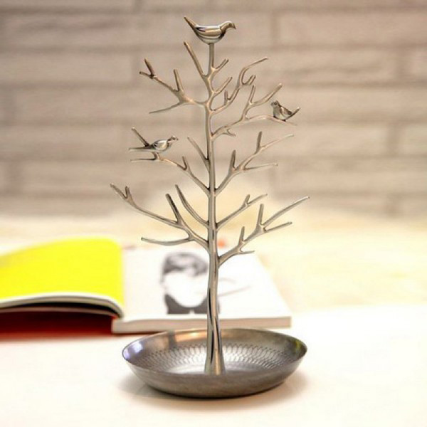 Silver Jewelry Tree Holder with Round Ring Dish