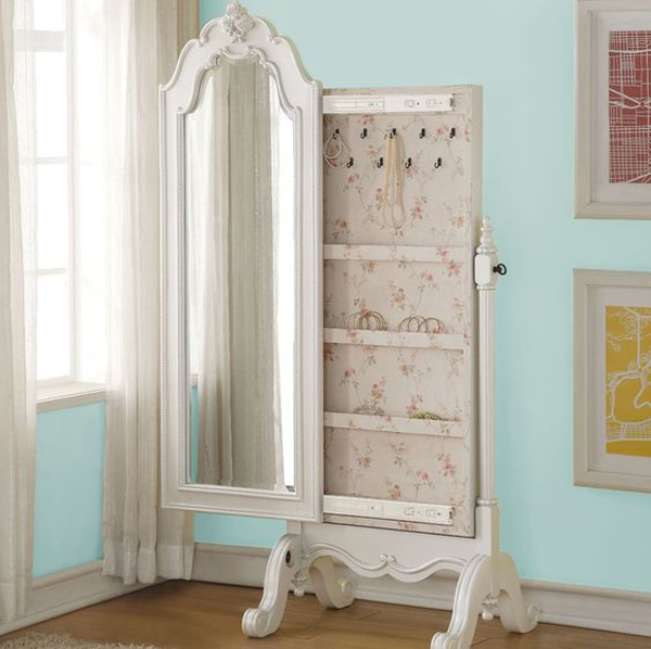 Beautiful Vintage Side Sliding Standing Mirror Jewelry Armoire