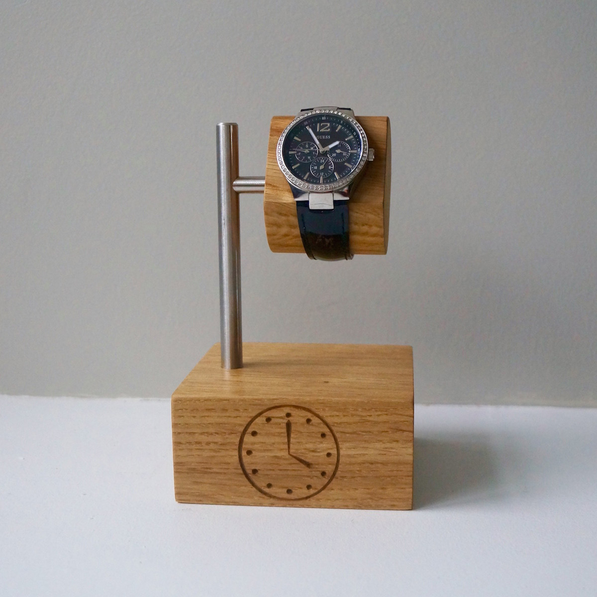 Creative Metal & Wood Block Single Watch Holder Stand