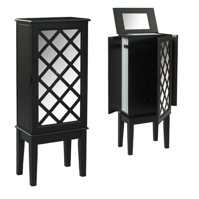 Cute Mirrored Black Cabinet Jewelry Armoire