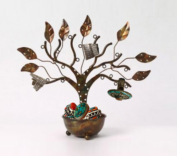 Cute Copper Potted Jewelry Tree Holder with Earring Holding Leafs