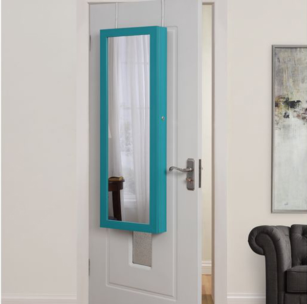 Cute Minimalist Teal Over The Door Jewelry Armoire