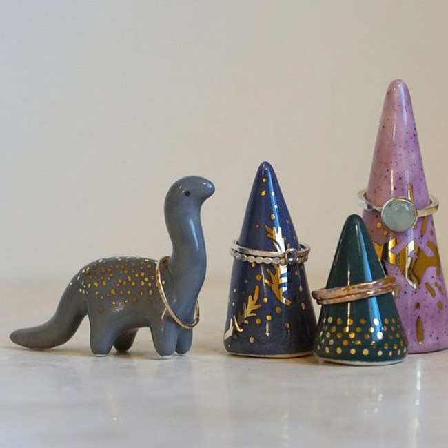 Cute Ring Holder Cones with an Extra Dinosaur