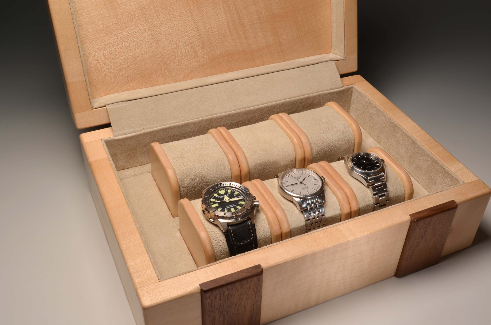 Elegant Felt Lined 6 Slot Natural Wood Watch Holder Box